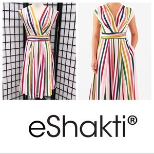 eShakti Multicolor Stripe Midi Dress with Pockets!